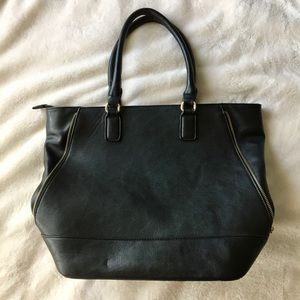 Large Black Faux Leather Tote